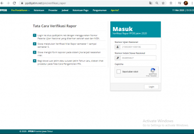 Login Verifikasi Nilai Raport 2020