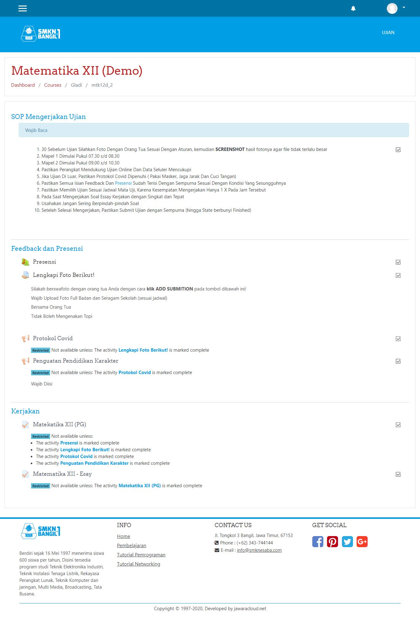 screencapture aplikasi ujian online smknesaba