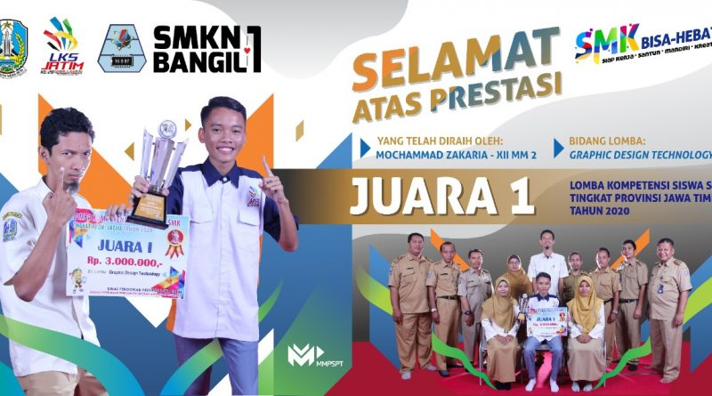Siswa SMKN 1 Bangil Juara I LKS Bidang Graphic Design Technology Tingkat Jatim Tahun 2020